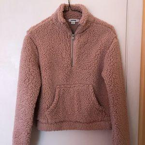 Pink fleece teddy quarter zip